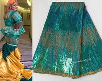 Glistening Teal Gold classic french net lace African sewing tulle lace fabric with Allover shiny sequins and stones 5 yards/PC