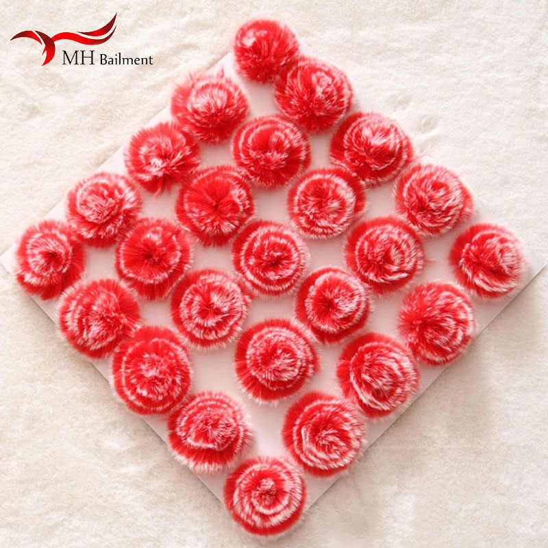 6CM red rabbit fur peony flower clothing shoes and hats jewelry accessories DIY accessories flowers