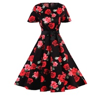 2017 Plus Size Belle Womens Summer Dresses 50s 60s Robe Vintage Retro Pin Up Swing Polka