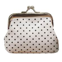 Fashion women's dot print kiss lock wallet card bag mini coin purse(China)