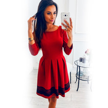 2018 New Women Vintage O-Neck Autumn Fashion Solid Color 3/4 Sleeve A-line Slim Lace Dress Elegant Party Winter Mini Dresses Ves(China)