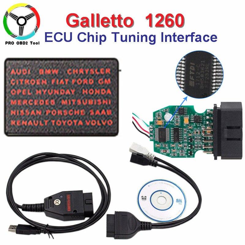 Чип ECU Инструмент настройки Galletto 1260 EOBD Flasher с FTDI FT232RL чип мигалкой ЭКЮ Galletto 1260 с несколькими языками бесплатная доставка ...