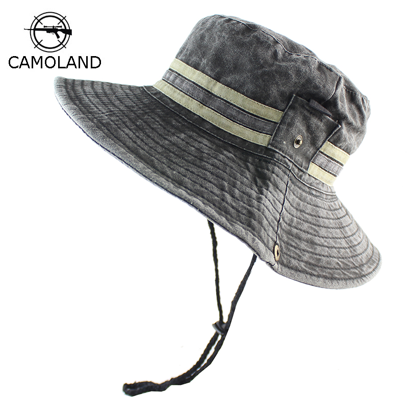 175de778c 100% Pure Cotton Men's Bob Summer Panama Bucket Hats Outdoor Fishing Washed  Sun Hat UV Protection Wide Brim Women Male Boonie-in Bucket Hats from ...