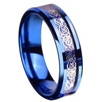 6mm Blue Tungsten Ring Sliver Color Celtic Dragon Wedding Bands Couples Rings Set Size 5 13