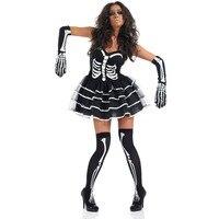 Хэллоуин Пурим Детский костюм для вечеринок женщина взрослых страшное чудовище демон череп скелет костюмы Короткие платье-пачка платья дл...