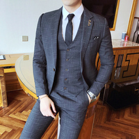 Gentleman Vintage Suit Pinstripe Classic Decent Mens Suit Wedding Groom Party Banquet Smoking Costums Homme Slim Fit red Grey