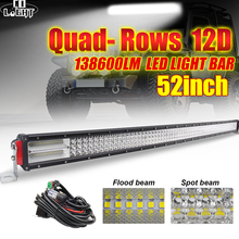 CO LIGHT 52 Led Light Bar 12V 12D 924W LED Work 24V 4-Rows Combo Beams for Offroad Tractor Jeep ATV Truck 4x4