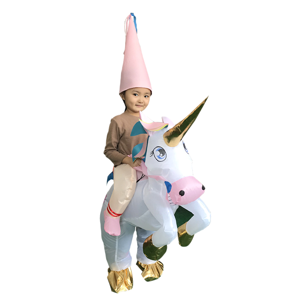 Kids Inflatable Costume Riding Unicorn Outfit Suit with Hat Birthday Cosplay Party Fancy Dress