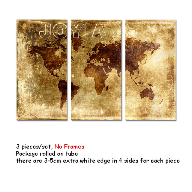 Online Shop 3 Pieces Wall Art Canvas Print World Map Abstract ...