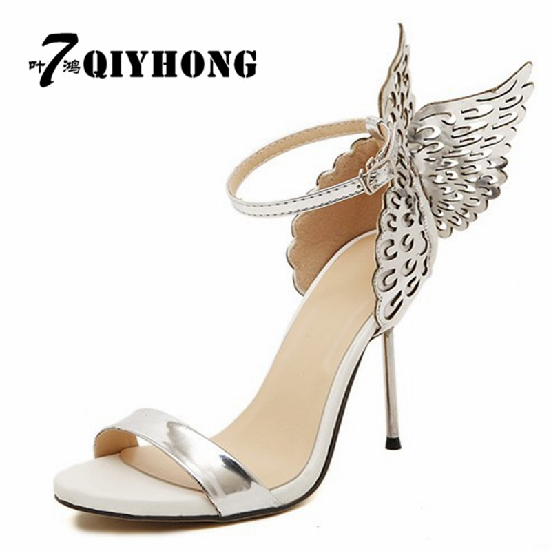 QIYHONG Fashion Summer Lady High Heels 2017 New <font><b>10</b></font> Cm Three-Dimensional Butterfly Angel Wings <font><b>Sexy</b></font> Woman Shoes women sandal image