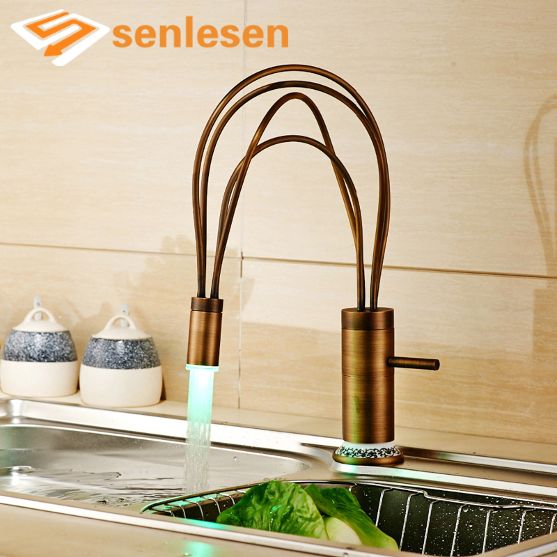 Antique Brass Kitchen Sink Faucet Flexible Kitchen Taps with Hot and Cold Water LED Light Deck Mounted недорого