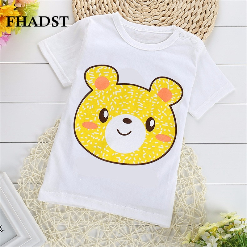FHADST 2017 Active Baby Boys Girls T shirt Short Sleeve O-Neck 100%Cotton tees Kids Summer White Clothes Character Cute monkey