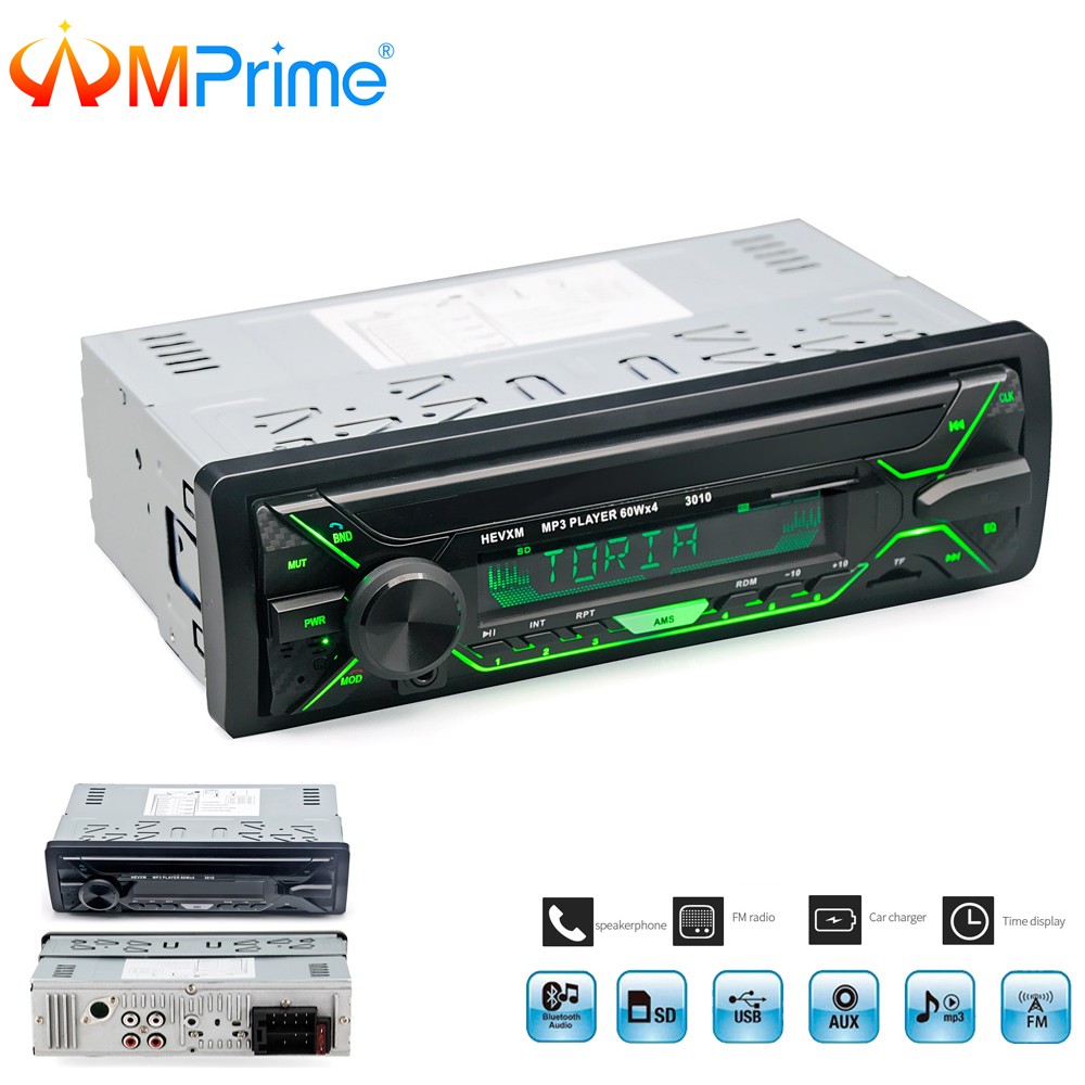 AMPrime Car Radio Stereo Player Bluetooth Phone AUX-IN MP3 FM/USB/Remote Control 12V Car Audio Auto 2018 Sale New Audio Stereo new car bluetooth hifi bass power amp digital auto amplifier stereo usb tf radio audio mp3 music with remote 220v
