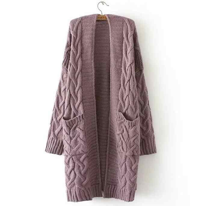2019 Musim Dingin Wanita Kebesaran Rajut Long Cardigan dengan Kantong Longgar Kasual Twist Merajut Sweater Mantel