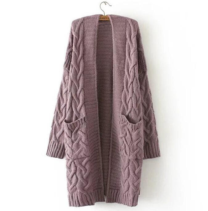 2020 Winter Women Oversize Knitting Long Cardigan with Pockets Loose Causal Twist Knit Sweaters Coat