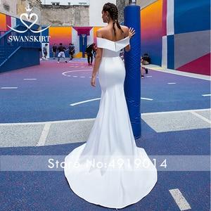 Image 4 - Mode 2 In 1 Trouwjurk Satin Mermaid Off Shoulder Afneembare Trein Bruid Gown Prinses Swanskirt F139 Vestido De Noiva