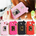 Fashion 3D Cute Hello Kitty Soft Silicone case Cover with mirror and chain For samsung galaxy S4 note 2 3