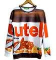 Envío de la gota! mujeres/hombres ropa sudaderas novedad 3d impresión de alimentos de chocolate Nutella harajuku pullover hoodies plus tamaño S-3XL
