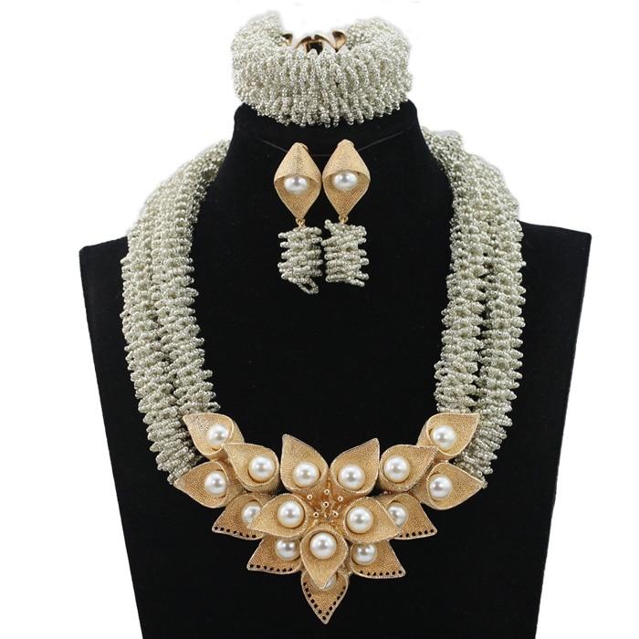 Gorgeous Lilac Purple Wedding Beads Nigerian Jewelry Set Gold ...