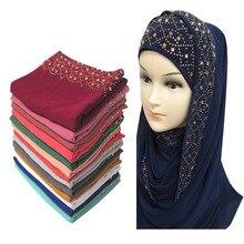 10 шт/партия Блестящий Золотой Стразы пузырь шифон хиджаб шарф мусульманская голова обёрточная крышка простые цвета
