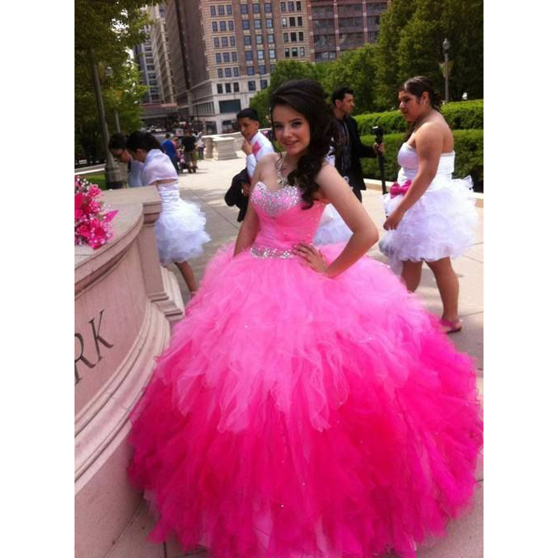 7ef9e838a76 Hot Pink Quinceanera Dresses Gradient Tulle Puffy Ruffles Ball Gown