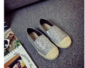 International Brands Women Flats Splicing Glitter Leather Hemp Rope Sole Thicken Platform Shoes Casual Fisherman Shoes Ladies