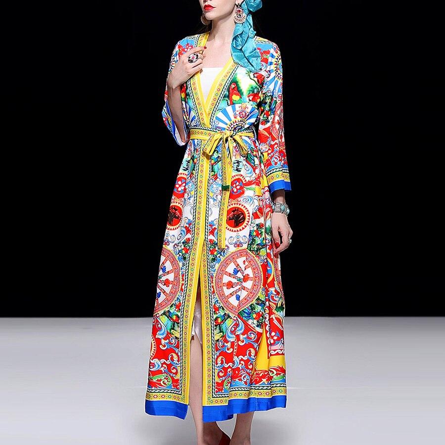Piste Manches Robes Aeleseen Maxi Automne Élégant Designer Imprimé Femmes Split Lâche Vintage Ceinture Longue Robe Longues 55q0rX