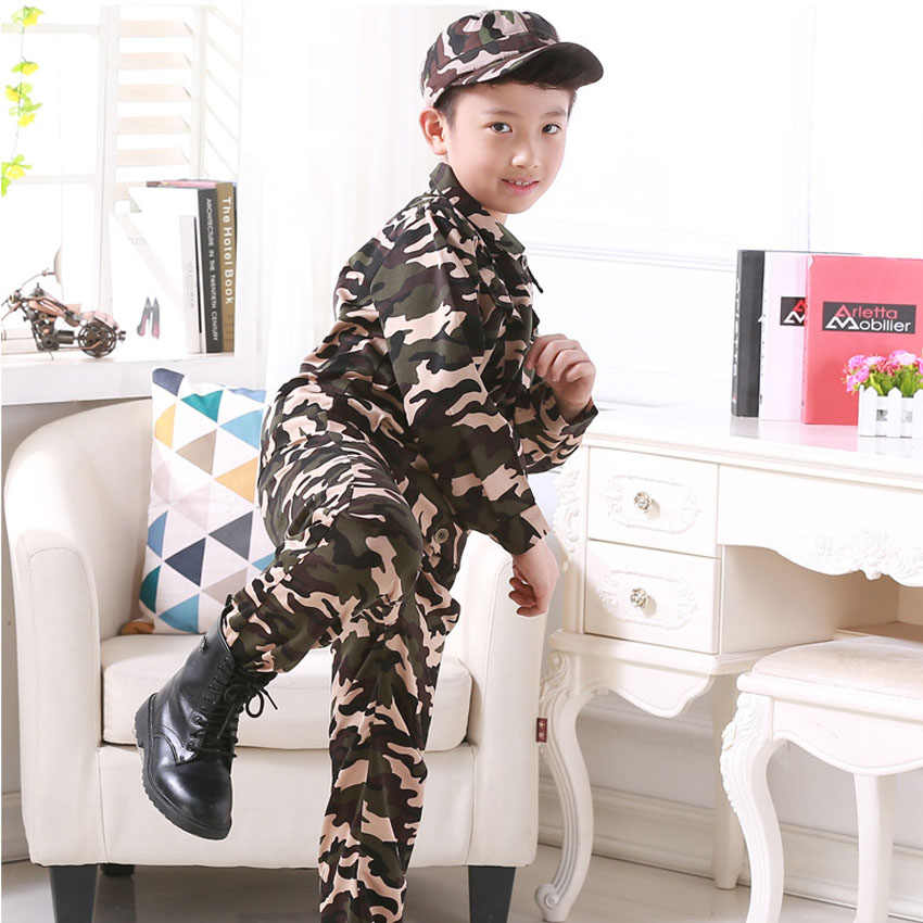 f238aebed2c Children CS Training Clothing Set Army Suit Halloween Cosplay Costumes  Policemen SWAT Air Force Tactical Kids Boys Uniform
