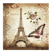 180.00 cm x 180.00 cm Retro Eiffel Tower & Butterfly Shower Curtain Bathroom Waterproof Fabric Curtain