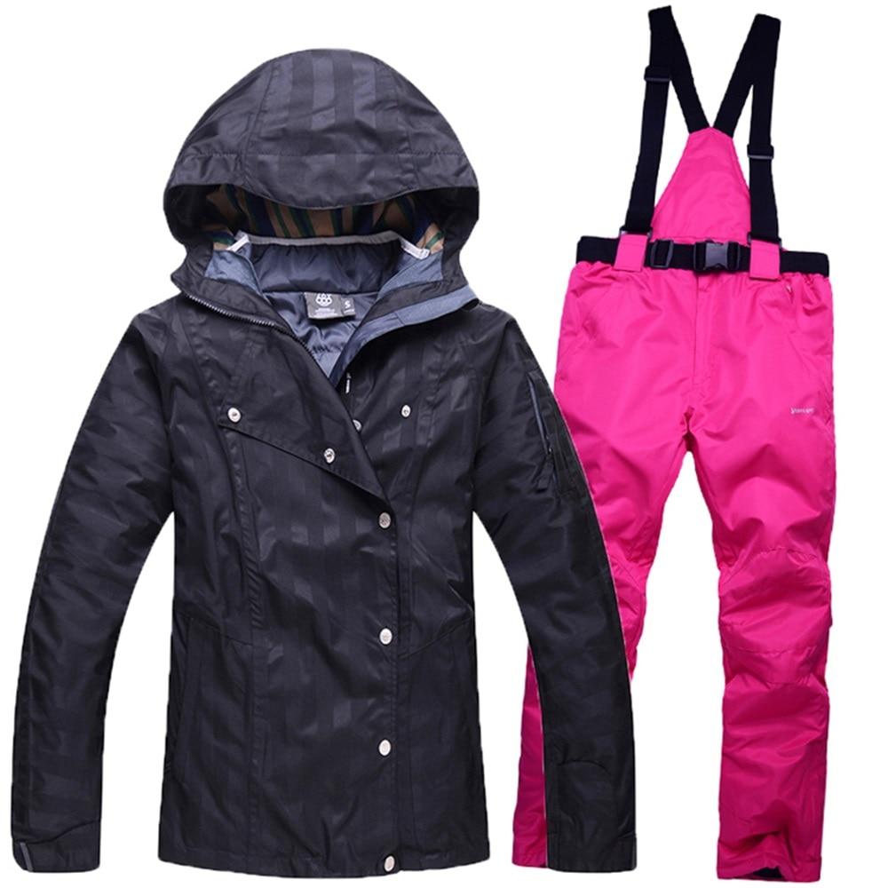Prix pour Pour-30 Deegree femmes snowboard vestes costumes pantalons femme hiver en plein air survêtement ski manteaux + pantalon ensemble ski vêtements