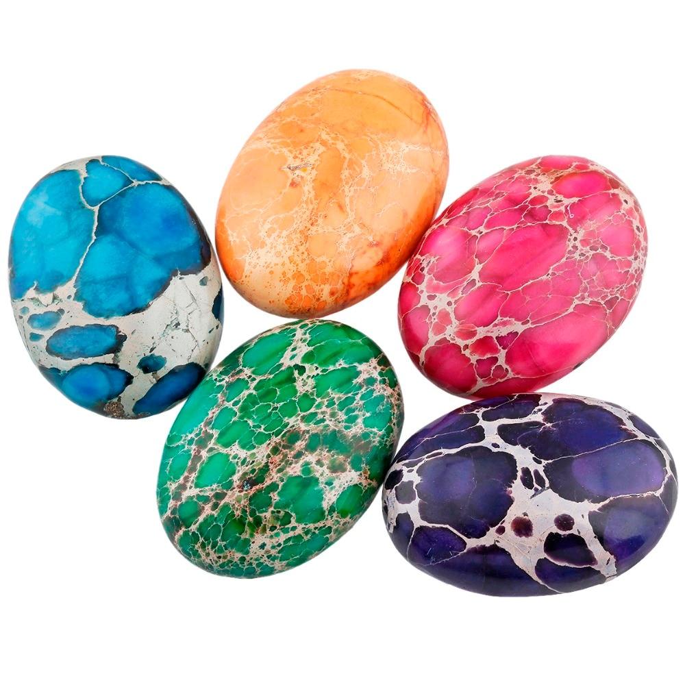 SUNYIK 1Lot (10Pc) 22x30mm Multicolor Sea Sediment Jasper Oval CAB Cabochon Flatback Stone for Jewelry Making