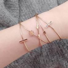 Simple Dream Love Arrow Bracelets & Bangles for Woman Gold Alloy Zircon charm bracelet 2018 fashion woman bracelets jewelry gift