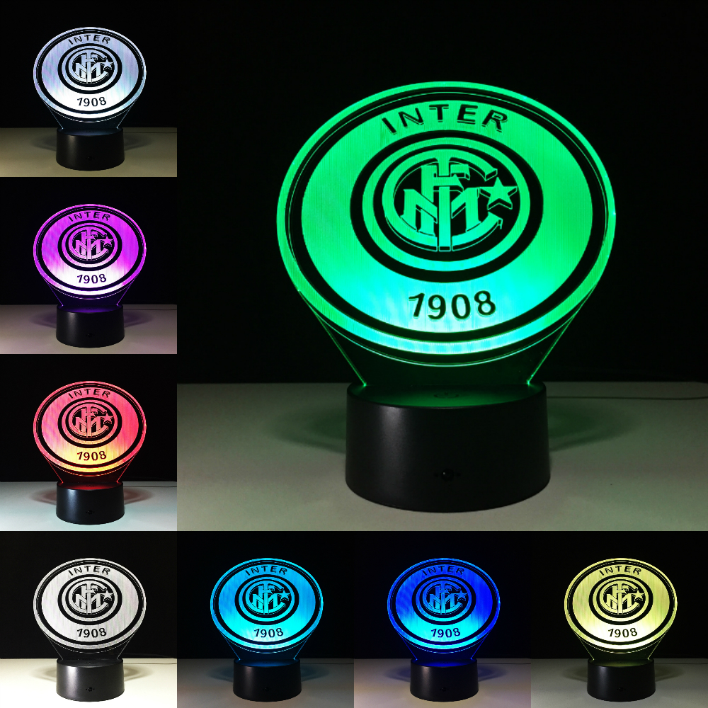 ITALIA Inter FC Fans Milan 3D Soccer Lamp Juventus Club 7 Colorful Football Night Light Best Gifts for Kids Dad Friends Dropship
