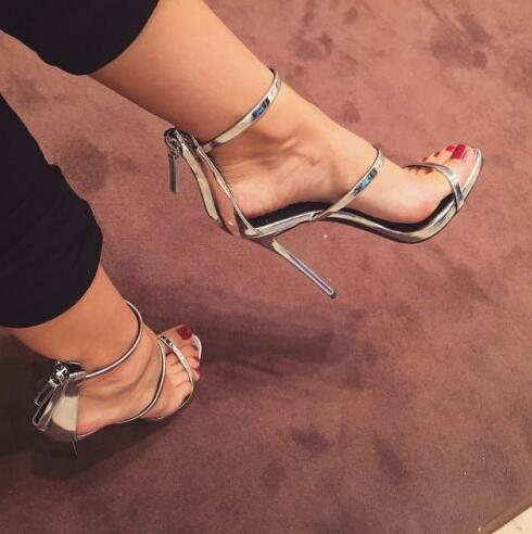 Silver/Gold Patent Leather Women Straps Sandals Sexy Open Toe Zipper Back Ladies Fashion High Heels Female Elegant Party Shoes summer new fashion cross tied lace up straps women black leather sandals sexy open toe zipper back chunky heel sandals