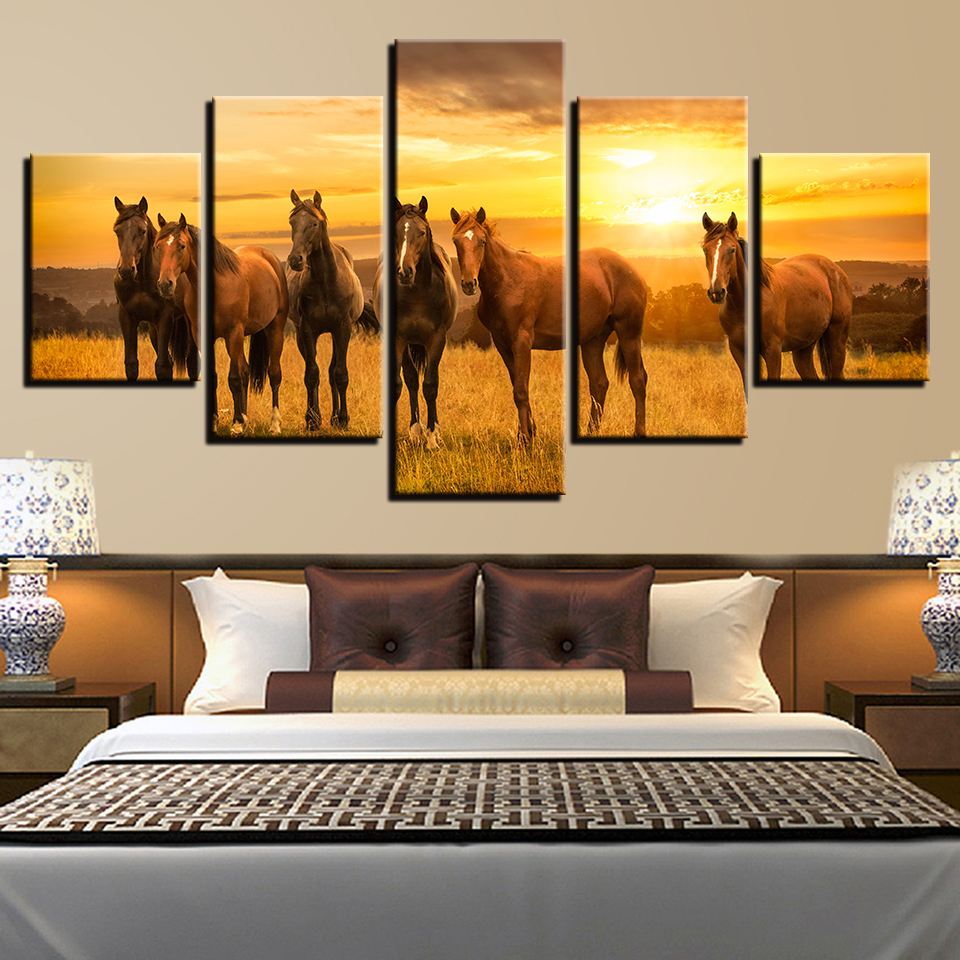 Modern Prints Decor Living Room Wall 5 Pieces Animal Horse Group Sunset Scenery Painting Poster Frame Modular Picture Canvas Art