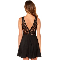 Vestidos  Summer Elegant Women Casual Dresses Solid Sleeveless Slim Lace Mini Dress 2