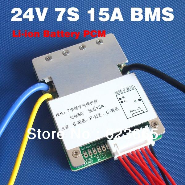 E-bike battery 7S 24V 15A BMS 24v lithium battery BMS for electric bike 24V 8Ah 10Ah 12Ah li-ion battery With balance function