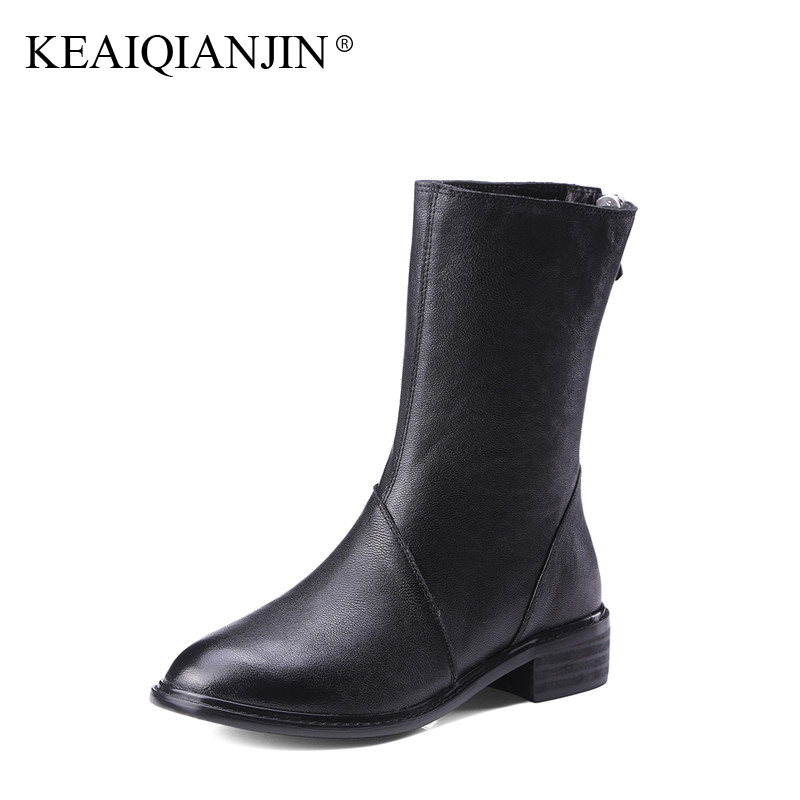 KEAIQIANJIN Woman Martens Boots Black Autumn Winter Ankle Boots Fashion Genuine Leather Shoes Zipper Punk Motorcycle Boots 2017 women boots plus size 35 43 genuine leather autumn winter ankle boots black wine red shoes woman brand fashion motorcycle boot