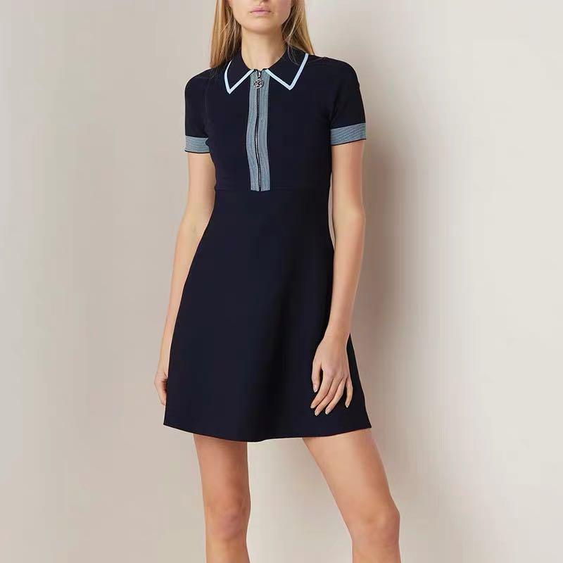 2019 été robe de piste femmes élégant tricot Mini robe femme Polo cou à manches courtes robes