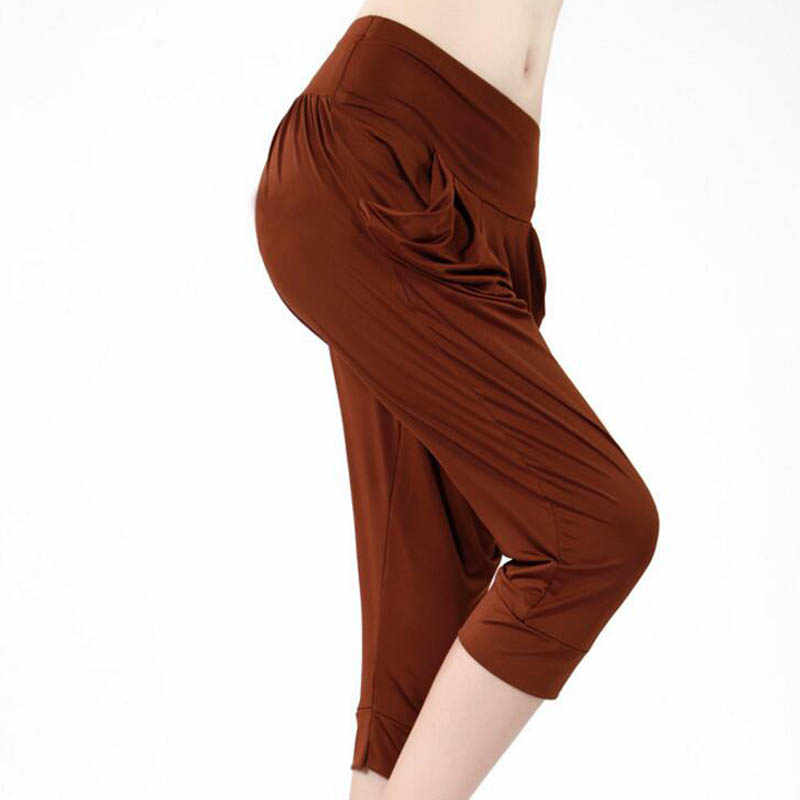 660e194eb834a ... Fashion Calf-Length Harem Pants Womens Large Size Pure Color Elastic  Waist Casual Cool Pants ...