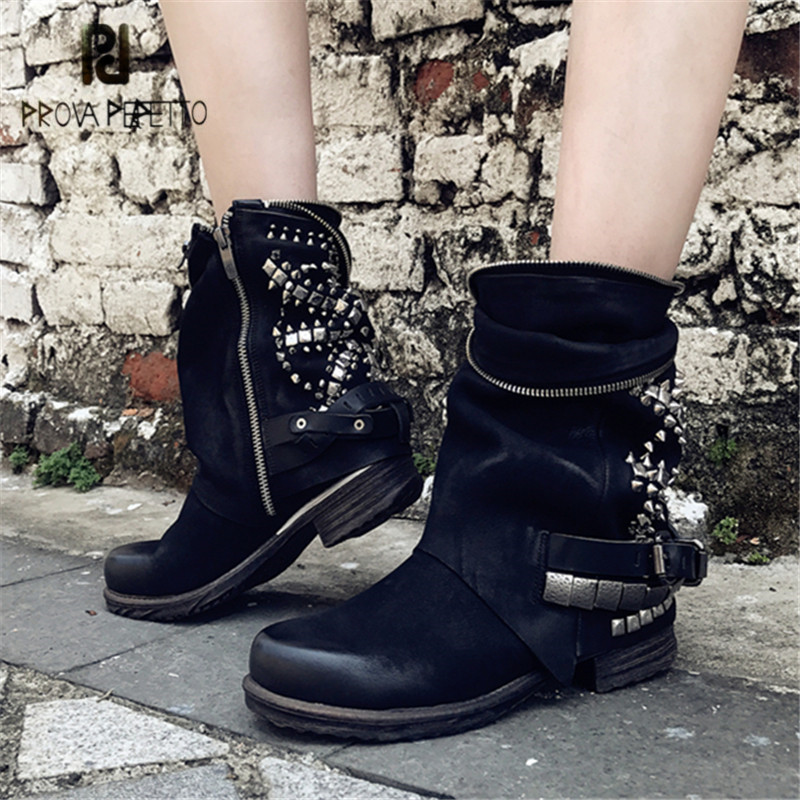 Prova Perfetto Black Rivets Studded Ankle Boots for Women Punk Style Autumn High Boots Genuine Leather Platform Rubber Flat Boot prova perfetto black ankle boots for women rivets studded flat autumn botas mujer genuine leather platform rubber martin boots