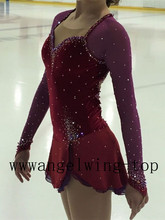 Competition Skating Dresses Women Custom Ice Figure Skating Dress Brown Girls Figure Skating Dresses Free Shipping