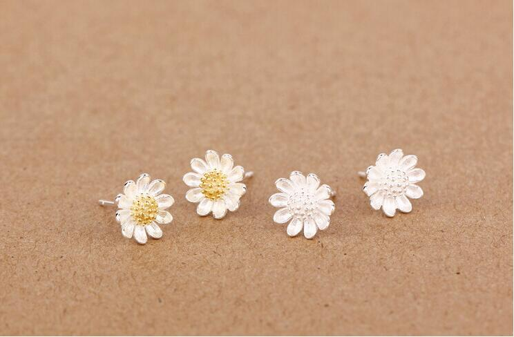 SMJEL New Fashion Tiny Sunflower Earings Cute Silver Chrysanthemum Stud Earrings for Women Brand Jewelry Birthday Gifts SYED036