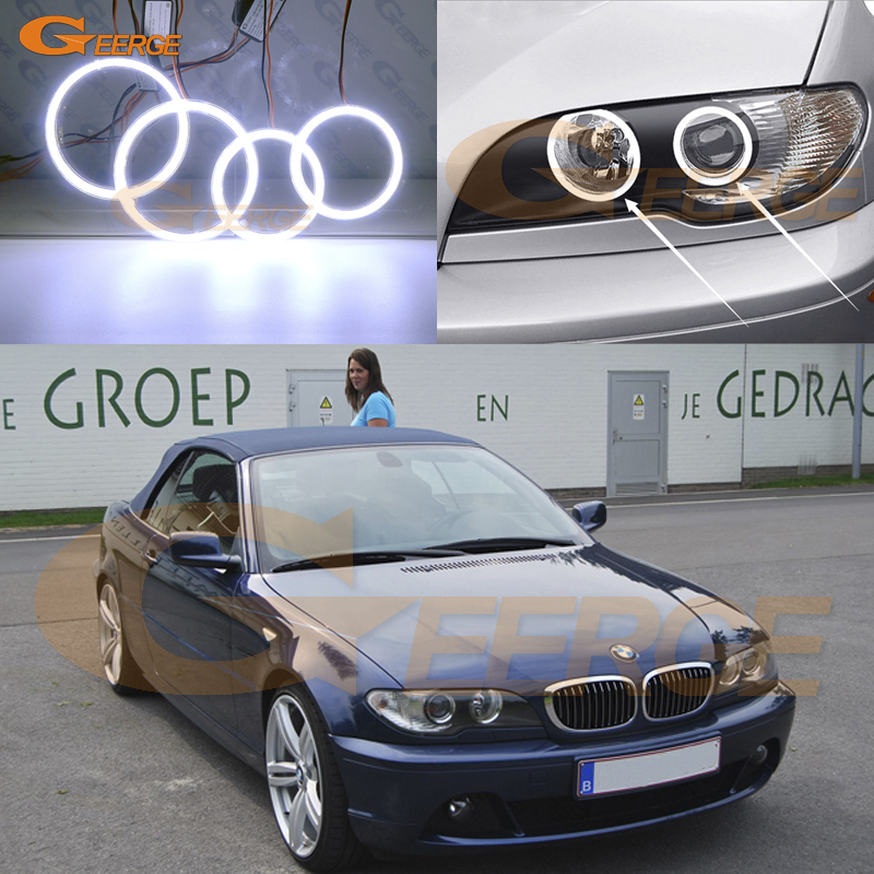 For BMW 3 Series E46 Convertible Coupe Cabrio 2004 2005 2006 Excellent Ultra bright illumination COB led angel eyes kit bmw m3 e30 coupe