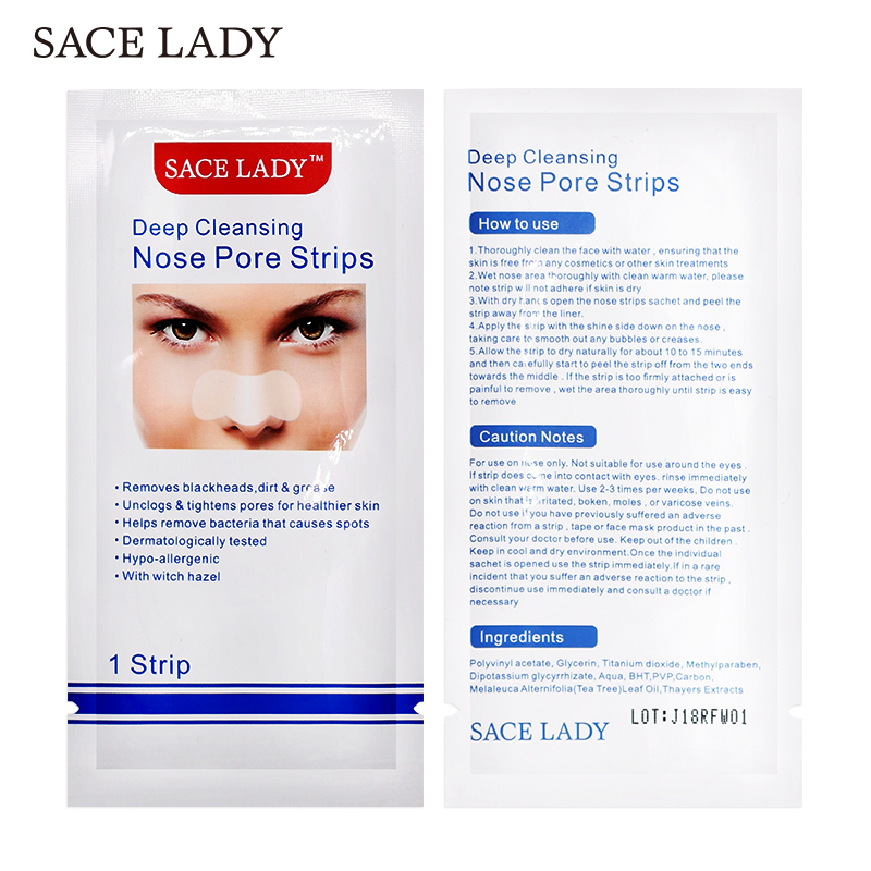 SACE LADY Black Dots Mask Nose Strip Blackhead Remover Nasal Sticker Sheet Mask For Face Black Head Nose Deep Cleaning Skin Care