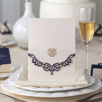 50pcs Luxury Blue Laser Cut Wedding Invitations Card With Diamond Personalized Custom Printable Wedding Event Party