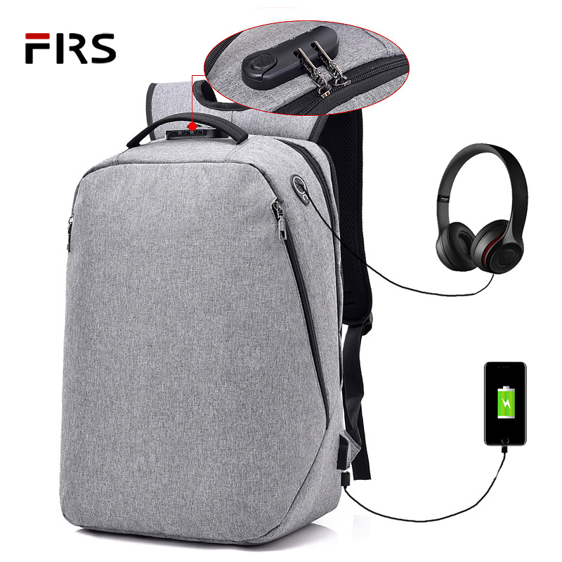 FLRS Multifunction School Backpacks 15.6 Laptop backpack men Waterproof Mochila Casual Travel USB Charge Back pack Male Bag Gift fengdong men backpack oxford youth fashion brand usb charge designer back pack college bags school bag waterproof backpacks male