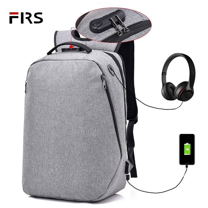 FLRS Multifunction School Backpacks 15.6 Laptop backpack men Waterproof Mochila Casual Travel USB Charge Back pack Male Bag Gift