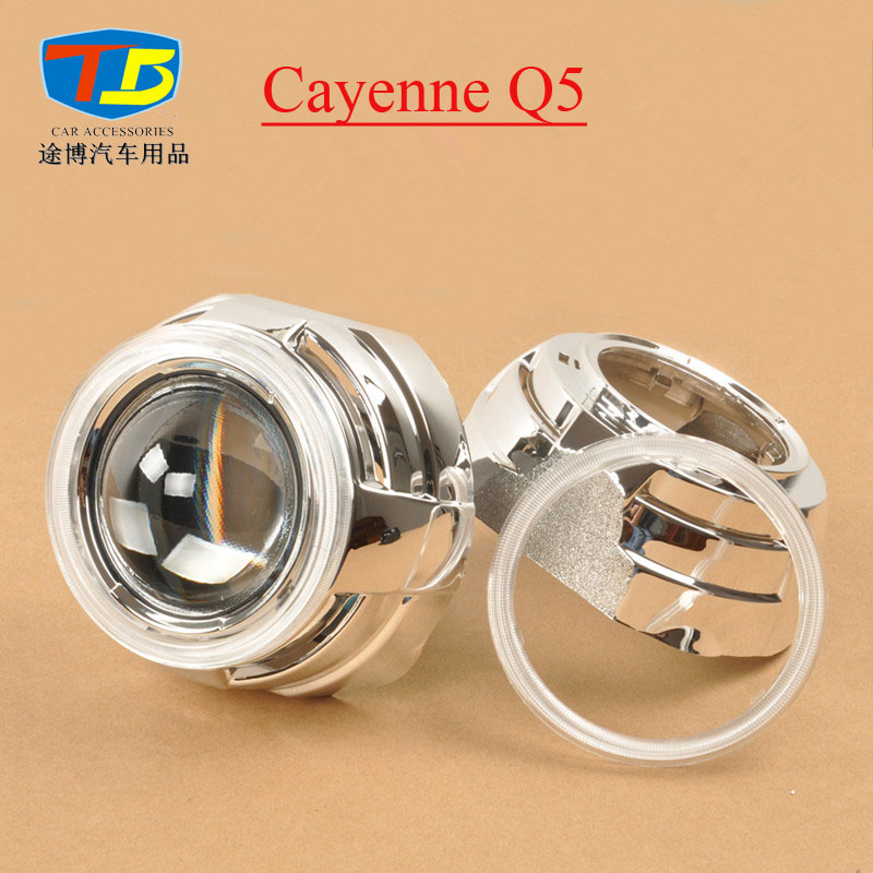 Cayenne Q5,Projector Lens Shroud For 3 Hid Bi-xenon Projector Chrome Mask Lens Cover Bezel Shroud With Angel Eye PC Cover Cap taochis 3 0 inch bi xenon hella projector lens hid d1s d3s d4s d2s shroud devil angel eyes head lamp upgrade demon eye