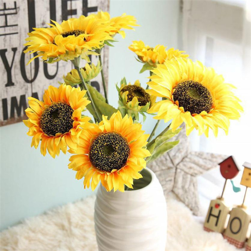 1 Bouquet 3 Heads Fake Flowers Sunflower Fl Wedding Party Home Decor Fls Set Yellow